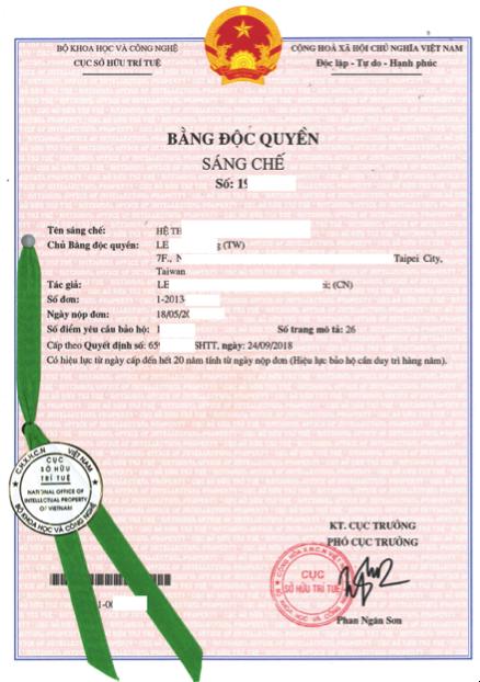Đăng ký sáng chế tại Việt Nam. Dịch vụ đăng ký sáng chế. Mẫu bằng độc quyền sáng chế