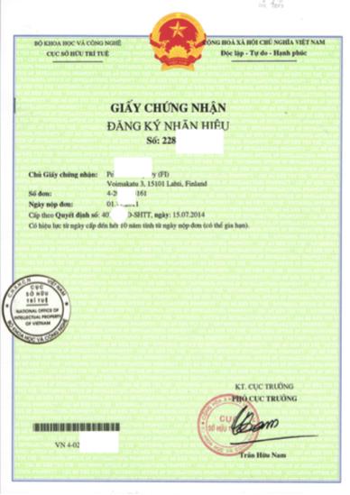 Đăng ký nhãn hiệu tại Việt Nam. Mẫu Giấy chứng nhận đăng ký nhãn hiệu