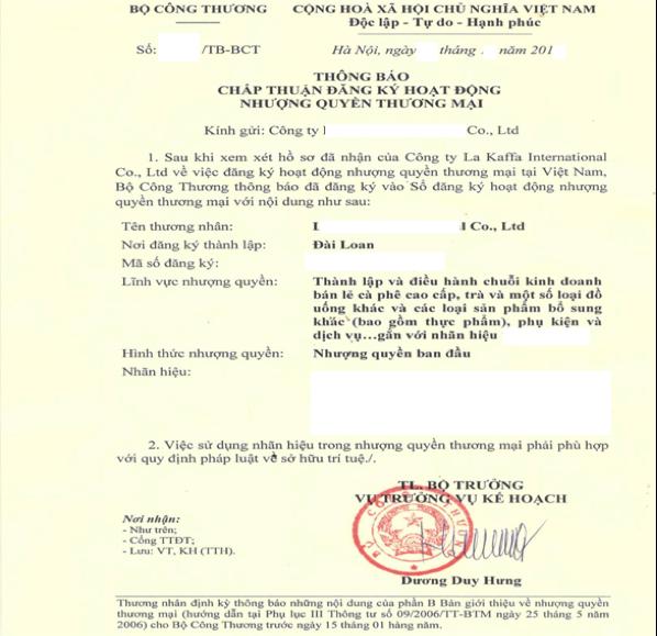 Đăng ký Nhượng quyền thương mại (Franchise). Mẫu Chấp thuận đăng ký hoạt động nhượng quyền thương mại tại Việt Nam.