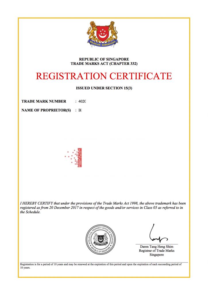 Đăng ký nhãn hiệu quốc tế tại Singapore. Mẫu giấy chứng nhận đăng ký nhãn hiệu tại Singapore