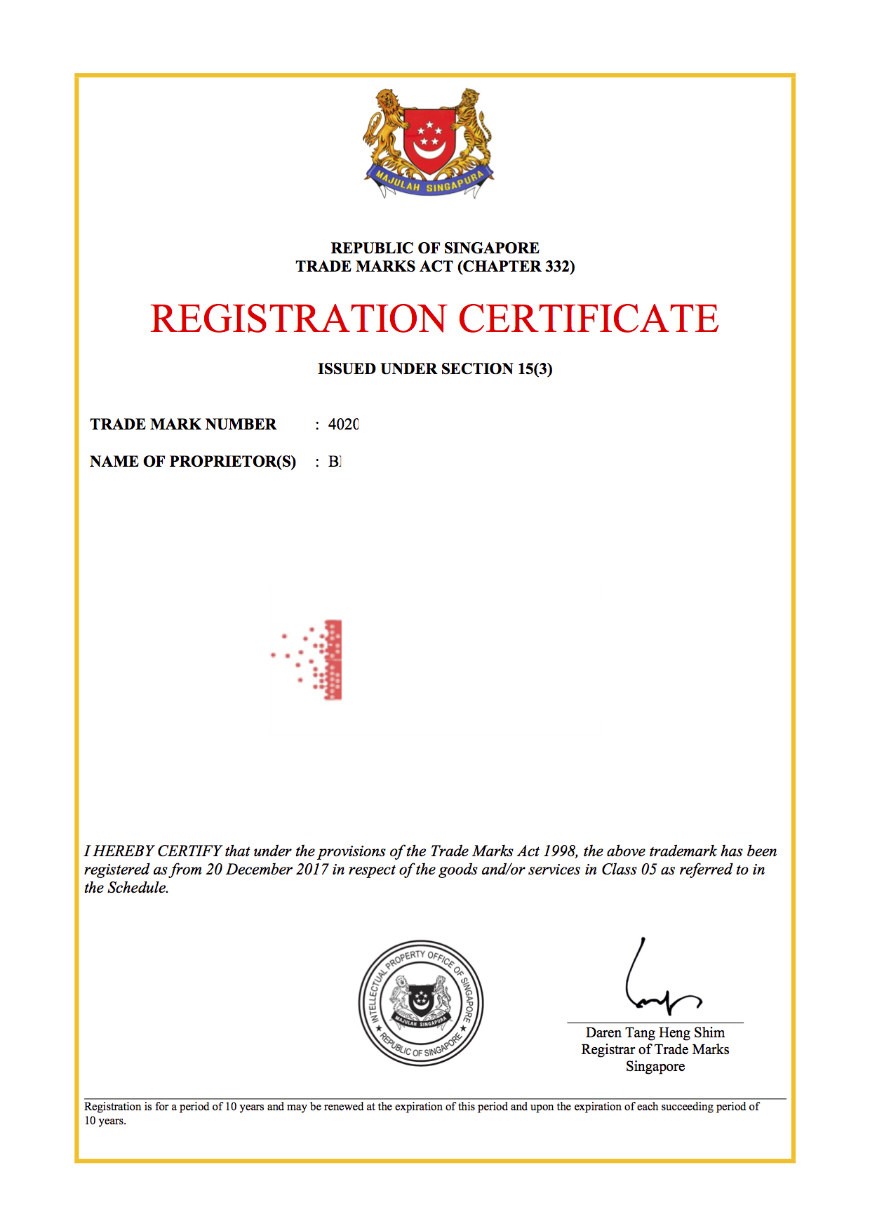 International trademark registration sample of trademark certificate in Singapore