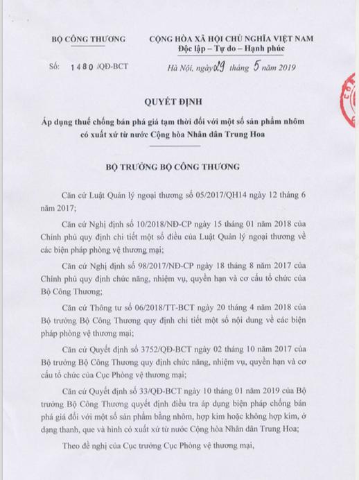 Quyết định số 1480/QĐ-BCT áp dụng biện pháp chống bán phá giá (CBPG) tạm thời đối với một số sản phẩm nhôm thanh đùn ép có xuất xứ từ Trung Quốc