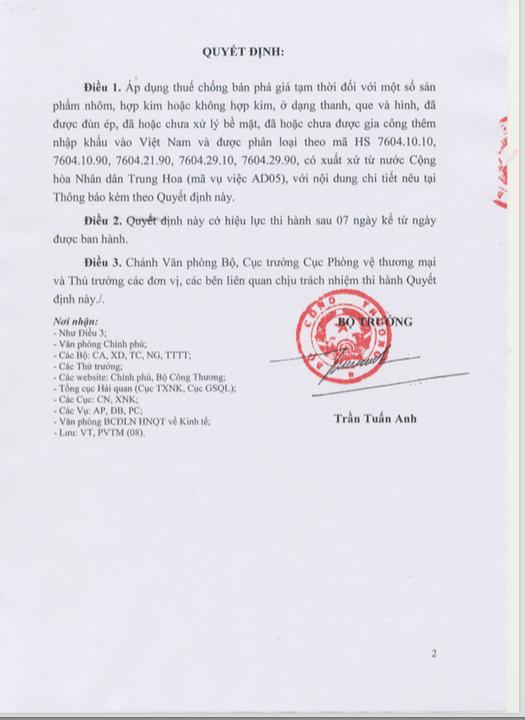 Trang 2: Quyết định Áp Dụng Biện Pháp Chống Bán Phá Giá Tạm Thời Đối Với Một Số Sản Phẩm Nhôm Có Xuất Xứ Từ Trung Quốc