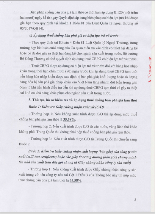 Trang 5: Thông Báo Áp Dụng Biện Pháp Chống Bán Phá Giá Tạm Thời Đối Với Một Số Sản Phẩm Nhôm Có Xuất Xứ Từ Trung Quốc