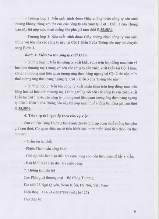Trang 6: Thông Báo Áp Dụng Biện Pháp Chống Bán Phá Giá Tạm Thời Đối Với Một Số Sản Phẩm Nhôm Có Xuất Xứ Từ Trung Quốc