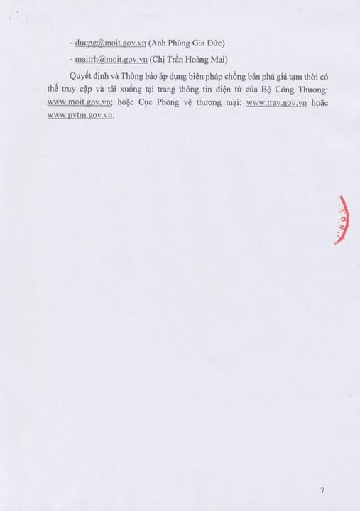 Trang 7: Thông Báo Áp Dụng Biện Pháp Chống Bán Phá Giá Tạm Thời Đối Với Một Số Sản Phẩm Nhôm Có Xuất Xứ Từ Trung Quốc