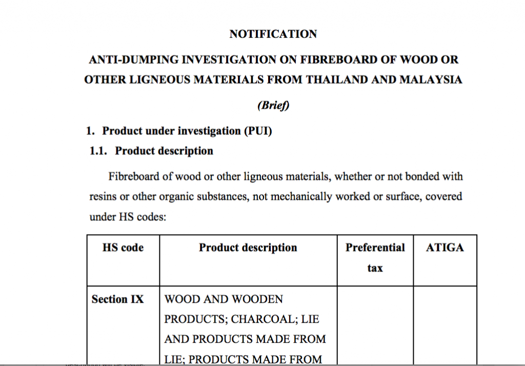 Investigation and application of anti-dumping measures against some wood fiber products or other wood-based materials originating from Thailand and Malaysia.