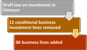Draft law on Investment in Vietnam- 12 conditional business investment lines removed and 06 lines added