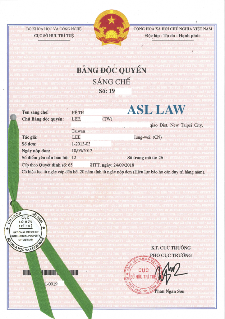 Sample of patent in Vietnam, Vietnam Patent