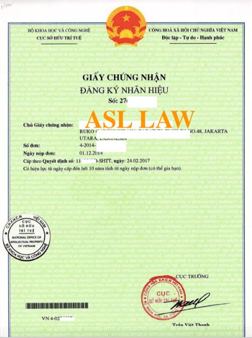 Sample of Vietnam Trademark certificate, trademark certificate in Vietnam (ASL LAW)
