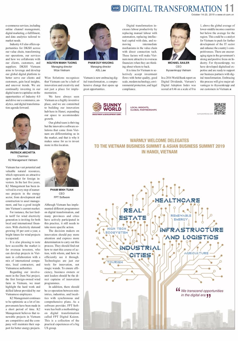 Vietnam Summit 2019: Swift digital revolution drives Vietnam's economic growth
