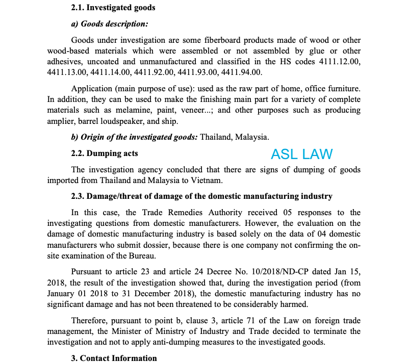 Termination of investigation and not applying anti-dumping measures for fiberboard products made of wood or other wood-based materials originating from the Kingdom of Thailand and Malaysia