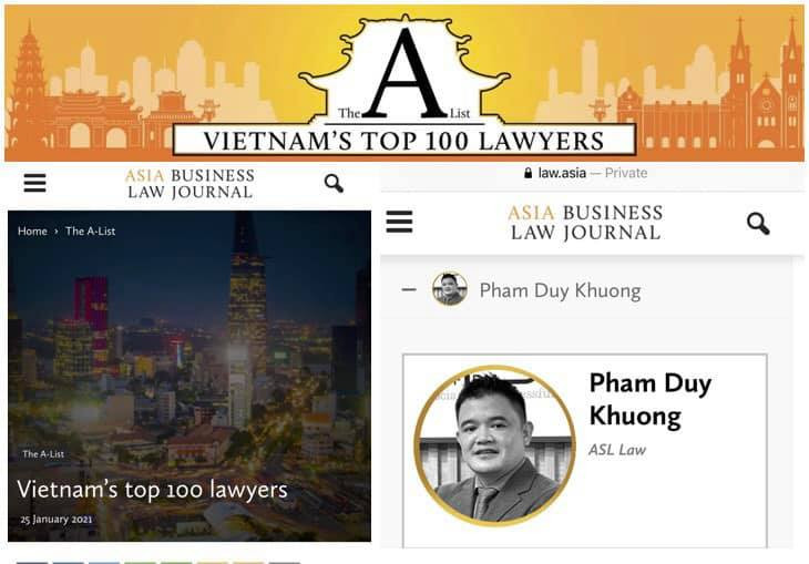 Lawyer Pham Duy Khuong is ranked as one of top 100 lawyers in Vietnam