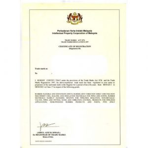 Mẫu giấy chứng nhận đăng ký nhãn hiệu tại Malaysia, giấy chứng nhận đăng ký nhãn hiệu tại Malaysia, chứng nhận đăng ký nhãn hiệu tại Malaysia